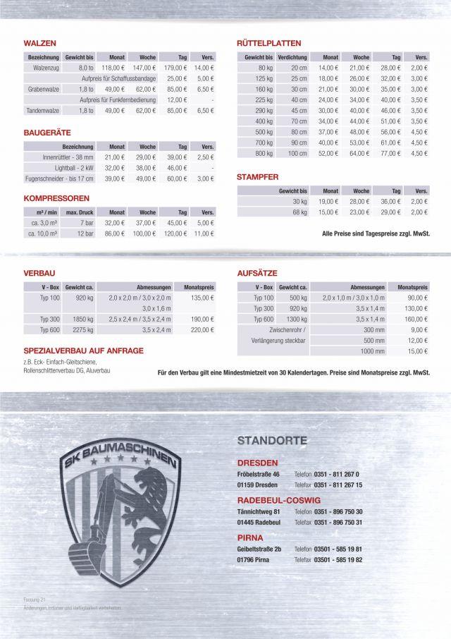 Mietpreisliste für Baumaschinen mieten
